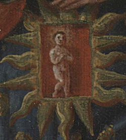 detail of Unborn Jesus from The pregnant Virgin
